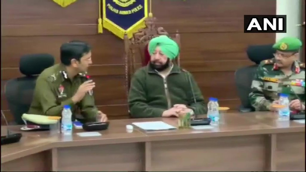 Punjab Chief Minister Amarinder Singh met top officials of army, paramilitary and the police to review the current situation in border areas