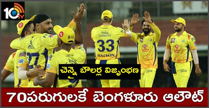 IPL 2019, CSK బౌలర్ల విజృంభణ : 70పరుగులకే RCB ఆలౌట్