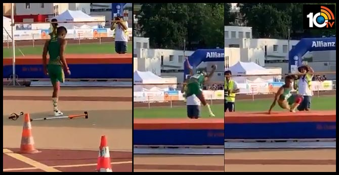Athlete Front Flip  with a single leg..Differently-abled Man Inspires By Doing Front-flip High Jump