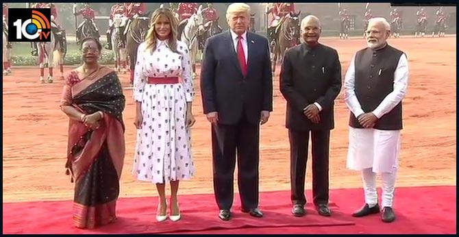 us president donald trump receives ceremonial reception at rashtrapati bhawan