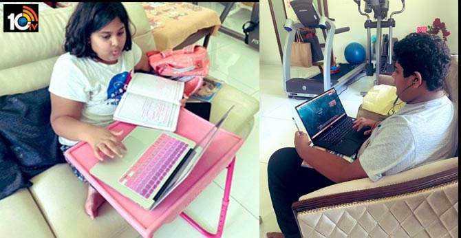 Online schooling during these testing times. My son & daughter KTR Tweet