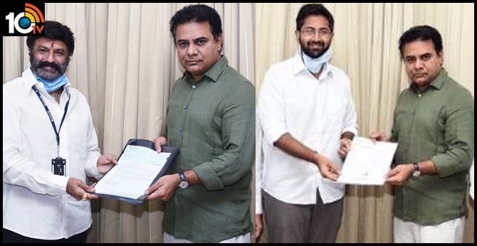 Nandamuri Balakrishna handedover a cheque of Rs 50 Lakhs to Minister  KTR
