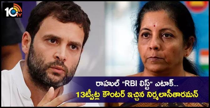 Nirmala Sitharaman's 13-Tweet Counter To Rahul Gandhi's 'RBI List' Attack