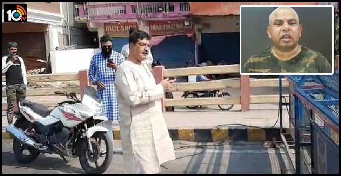 AIMIM MLA removes flyover barricade, BJP demands action citing lockdown violations