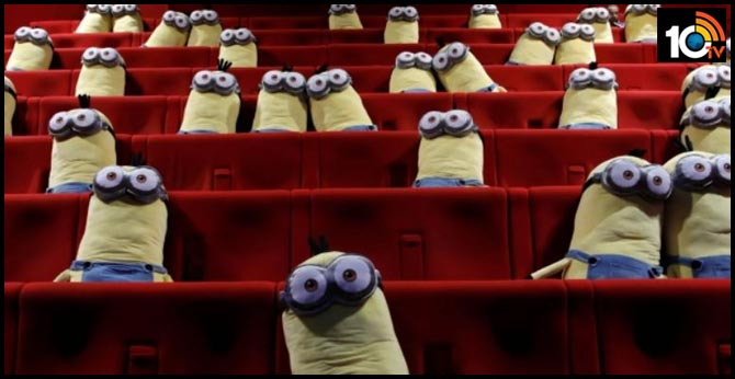 Minion stuffed toys from 'Despicable Me' ensure social distancing between movie fans in Paris theatre