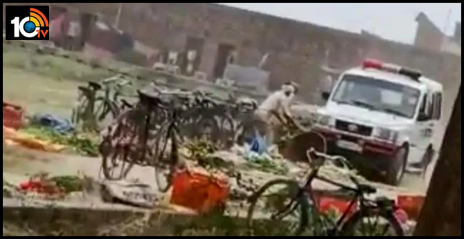 On Camera, UP Cop Crushes Vegetables With Police Car, Reverses Over Them