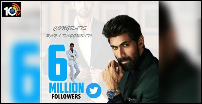 Handsome hunk Rana Daggubati crossed 6 Million Followers Mark on Twitter