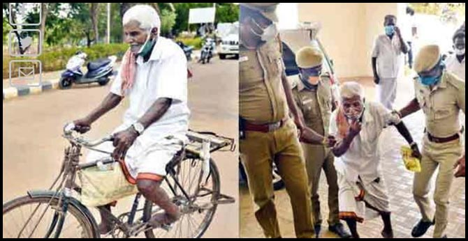 73 years old man ride cycle 70 km in tamilnadu