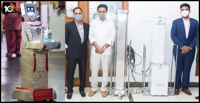 గాంధీ ఆస్పత్రిలో  వైరస్ క్లీన్ చేసే రోబో