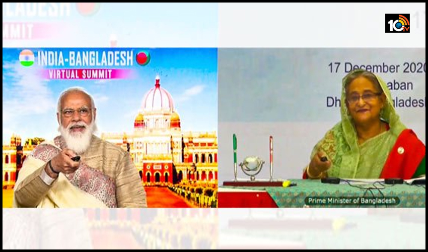 భారత్-బంగ్లాదేశ్ మధ్య రైల్వే లైన్ ప్రారంభించిన మోడీ,షేక్ హసీనా