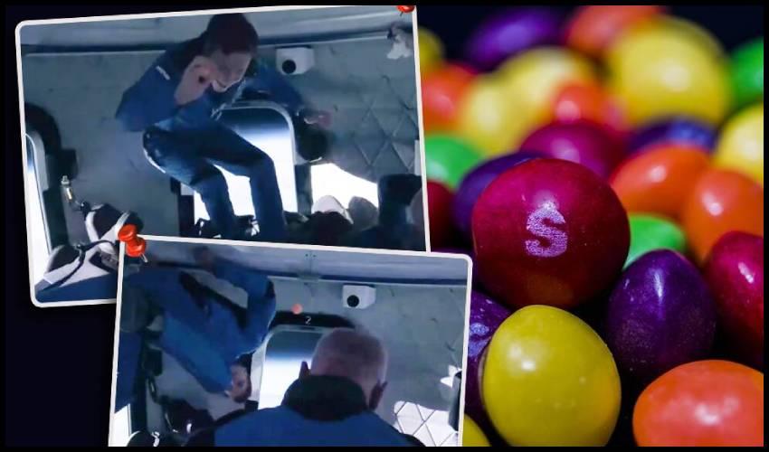 Jeff Bezos Skittles : బ్లూ ఆరిజిన్ వ్యోమనౌకలో స్కిటిల్స్ కాండీతో ఆడిన బెజోస్ బృందం.. వీడియో వైరల్!