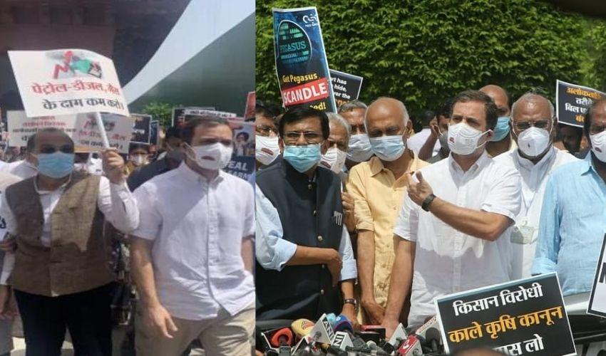Rahul Gandhi : పాకిస్తాన్ బోర్డర్ లా పార్లమెంట్.. ఇది ప్రజాస్వామ్య హత్యే.. విపక్షాల నిరసన ప్రదర్శన