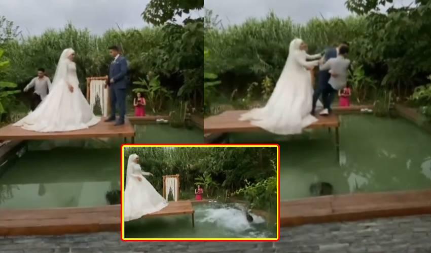Wedding Photoshoot : వరుడిని కొలనులో తోసేసిన వధువు