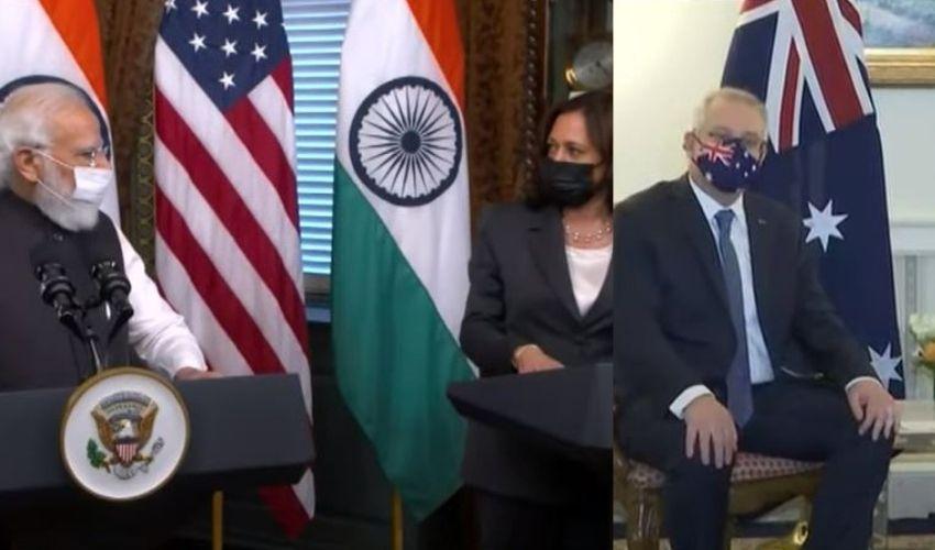 PM Modi : అమెరికా ఉపాధ్యక్షురాలు కమలాహారిస్, ఆస్ట్రేలియా ప్రధానిని కలిసిన ప్రధాని మోడీ