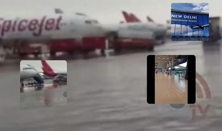 Delhi Airport : జల దిగ్బంధంలో ఢిల్లీ ఎయిర్ పోర్టు.. వరద నీటిలో నిలిచిన విమానాలు