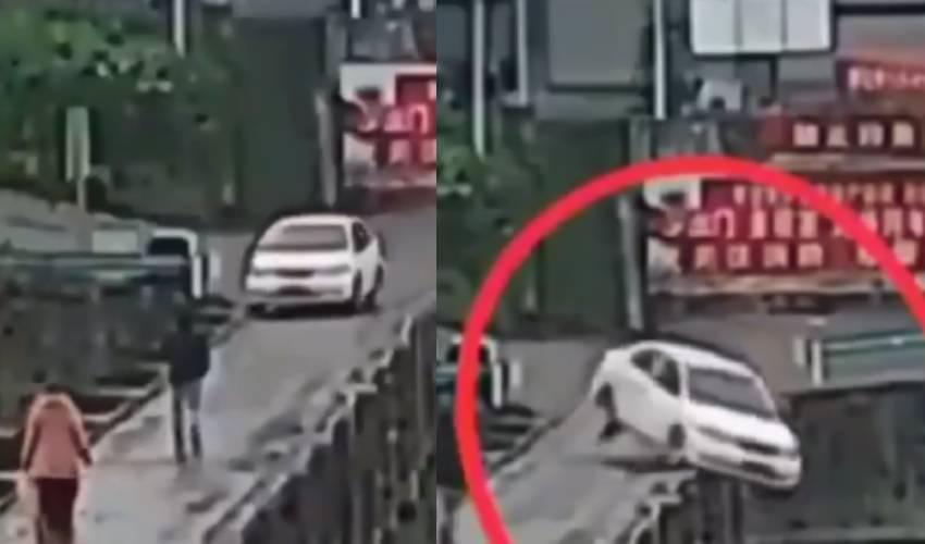 Viral Video : నదిలోకి దూసుకెళ్లిన కారు.. వీడియో