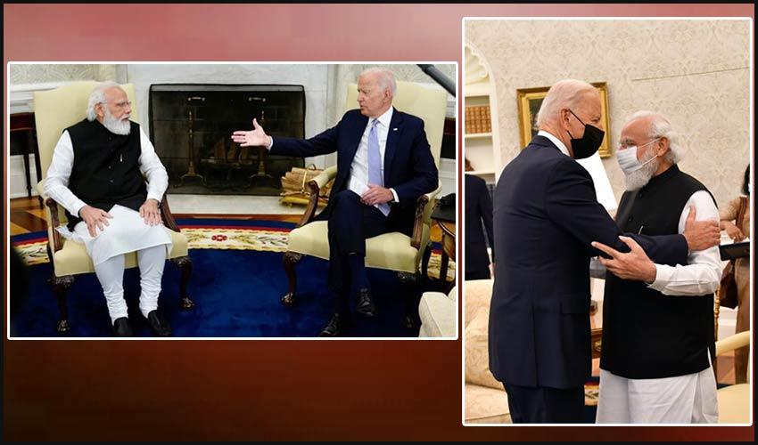 Modi-Biden : వైట్ హౌస్ లో మోదీకి సాదరస్వాగతం పలికిన బైడెన్