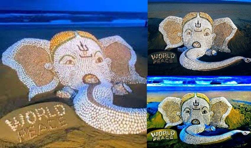 shells Ganesh : 7000 గవ్వలతో గణనాథుడు..సైకత శిల్పి అద్భుత సృష్టి