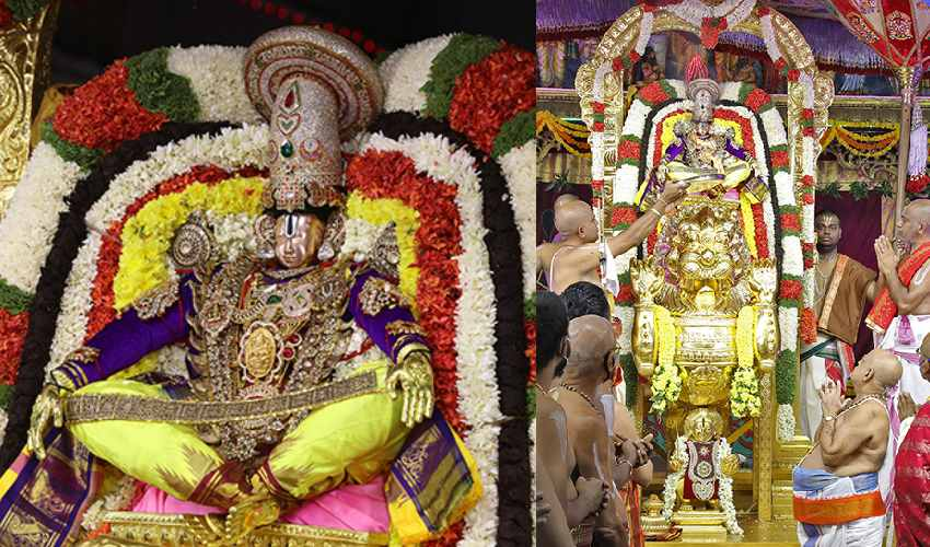 Tirumala Brahmotsavam : సింహ వాహనంపై యోగనరసింహుని అలంకారంలో శ్రీ మలయప్ప స్వామి